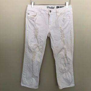 Miss Me White Ripped & Destroyed Crop Capri Jeans